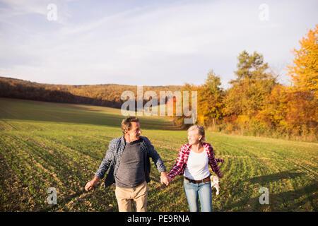 Couple sur une promenade dans une nature d'automne. Banque D'Images