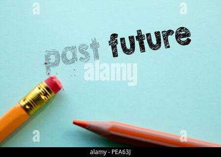 Décisions dans le passé à l'avenir par eraser Banque D'Images