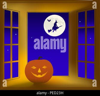Illustration sur un thème de l'halloween. Une fenêtre de nuit, la citrouille et la Sorcière volante. Banque D'Images
