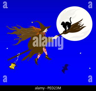 Illustration sur un thème de l'halloween. La sorcière volant sur Sabbat. Banque D'Images