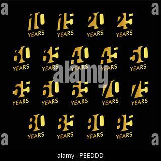 Numéros de vecteur anniversaire ensemble. Logo de l'anniversaire de collection. Signes d'or sur fond noir. La conception du Jubilé de l'illustration. Banque D'Images