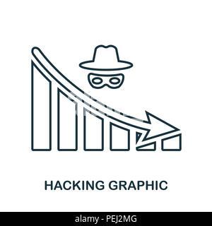 Hacking diminuer icône graphique. Application pour mobile, l'impression, l'icône du site web. L'élément simple à chanter. Hacking monochrome diminuer icône graphique illustration Banque D'Images