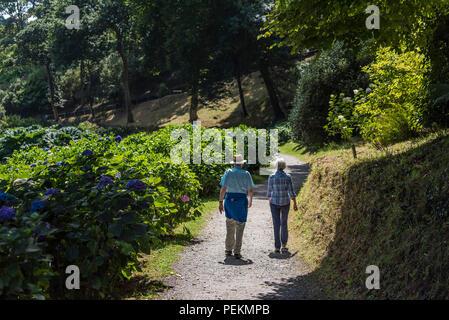 Les vacanciers matures marcher le long d'un chemin dans le jardin Trebah sub-tropical à Cornwall. Banque D'Images