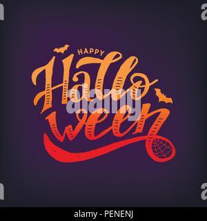 Happy Halloween Brosse Calligraphie lettrage autocollant Vecteur de texte Banque D'Images