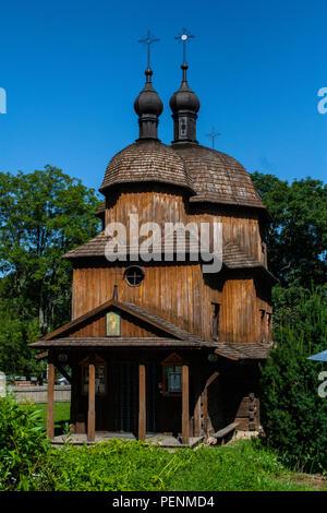 Ancienne église orthodoxe en bois, Musée en plein air à Lublin, Pologne Banque D'Images