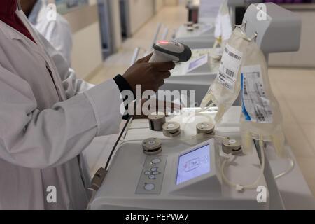 Technicien de laboratoire code barre de numérisation de poches de plasma Banque D'Images