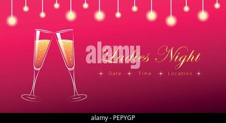 Deux verres de champagne ladies night illustration vecteur EPS10 Banque D'Images