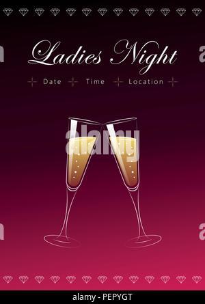 Deux verres de champagne ladies night poster illustration vecteur EPS10 Banque D'Images