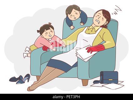 Vector - Illustration de la notion de vie et de travail l'équilibre, super maman & business concept 007 Femme Banque D'Images