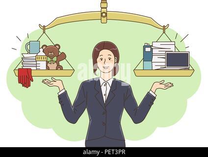 Vector - Illustration de la notion de vie et de travail l'équilibre, super maman & business woman concept 001 Banque D'Images