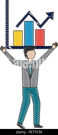 Businessman holding chart la croissance de l'entreprise arrow Banque D'Images