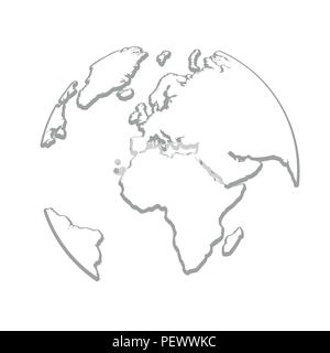 Globe Terrestre De La Terre Gris Dessin Simple Vector Illustration