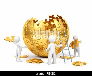 L'homme dessin animé golden team building puzzle sphérique, concept de coopération, rendu 3D Banque D'Images