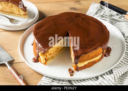 Secteur crème de Boston au chocolat maison prêt à manger Banque D'Images