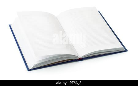 Ordinateur portable ouvert avec des pages vides isolated on white Banque D'Images