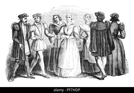 Fashion: le règne du roi Édouard VI était court. Au cours de son règne, la tunique des hommes est devenu le doublet, à l'origine un vêtement corps lâche avec jupes jupes; devenir disposés en plis précis, les plis sur la jupe sont raccourcies, plus ils deviennent plus devient le manteau; la télévision cap est devenu commun et la première arrivée des bas de soie en Angleterre Banque D'Images