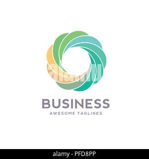 Logo cercle différentes couleurs , le meilleur vecteur flux abstrait modèle logo. La forme ronde et l'infini, symbole de la boucle, l'icône de la technologie logo géométrique Banque D'Images