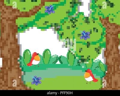 Paysage de forêt pixélisé Banque D'Images