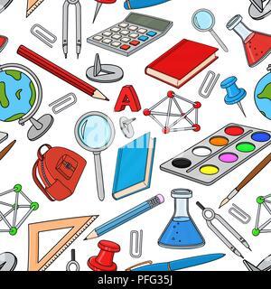 Doodle de l'école. Ensemble d'outils de couleur de papeterie. Modèle sans couture Banque D'Images