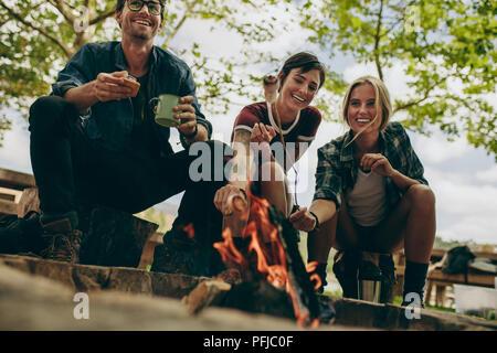 Deux femmes toasting guimauves sur feu de bois à l'aide de bâtons alors qu'un homme est titulaire d'une tasse à café. Smiling friends toasting nourriture sur feu dans la campagne. Banque D'Images