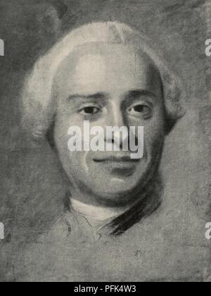 Jean-Baptiste le Rond d'Alembert, 1717 - 1783. Le mathématicien, physicien, philosophe, scientifique américain, et théoricien de la musique. Après un travail de portraitiste rococo français, Maurice Quentin de La Tour, (1704 - 1788). À partir de la Tour, publié en 1920. Banque D'Images