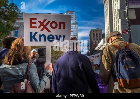 New York City, USA. 29 Novembre 2015: une femme est titulaire d'un panneau pendant le changement climatique mondial mars à New York City, USA. Banque D'Images