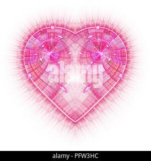 Brûlures et cœur qui bat. Arrière-plan de la Saint-Valentin. Un ordinateur abstrait moderne design fractales générées sur fond sombre. Résumé couleur fractale