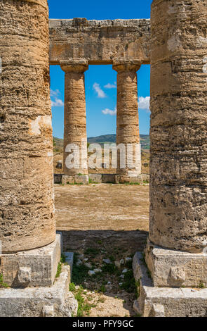 Le Temple de Vénus à Ségeste, ancienne ville grecque en Sicile, Italie. Banque D'Images