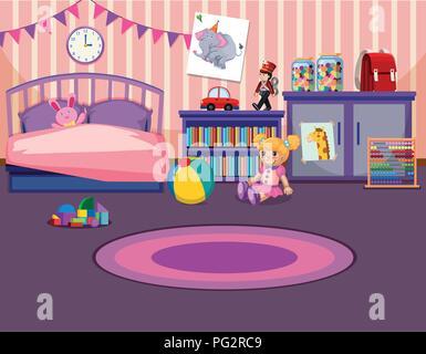 Illustration de l'intérieur chambre à coucher les jeunes filles