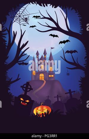 Happy Halloween, conception d'affiches, cimetières cimetière Creepy avec citrouilles, château effrayant et la pleine lune avec l'arrière-plan, l'arbre d'Halloween Banque D'Images