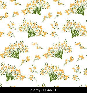 Motif floral seamless de différentes fleurs et feuilles. Illustration botanique peint à la main. Impression textile, mémo de tissu, papier d'emballage. Banque D'Images