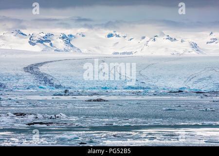 Glacier Islande Glacier Jökulsárlón, Lagoon Banque D'Images