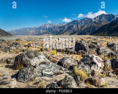 Nouvelle Zélande, île du sud, vue de Tasman Vallée à Mount Cook National Park