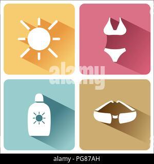 L'été et quatre symboles touristiques mis à l'ombre. Le troisième groupe. Vector illustration Banque D'Images