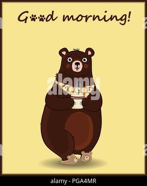 Vector illustration of cute cartoon caractère ours en chaussons et cravate, holding cup avec boisson chaude sur fond jaune avec hand drawn inscriptio Banque D'Images