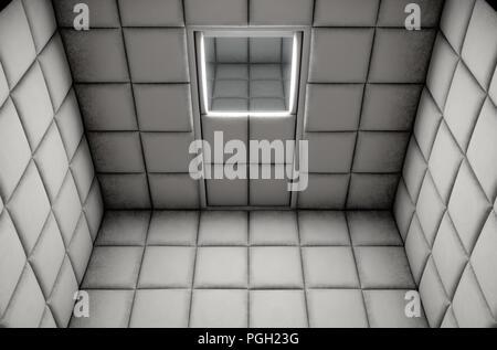 Une cellule capitonnée blanche vide dans un hôpital psychiatrique - 3D render Banque D'Images