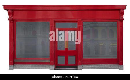 Façade devanture rouge avec vue avant dans le bois. Deux fenêtres et une porte au milieu isolé sur fond blanc