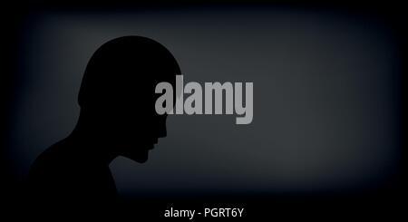 Homme déprimé triste silhouette sur fond noir EPS10 vector illustration Banque D'Images