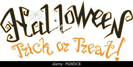 Happy Halloween. Vector illustration avec le web et l'araignée. Trick or Treat Banque D'Images