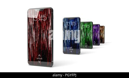 La conception moderne du smartphone. 3d illustration de brandless design téléphone. Banque D'Images
