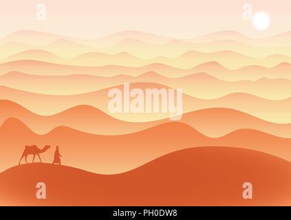 Homme avec des promenades à dos de chameau dans le désert seul sous le soleil brûlant, l'illustration. Banque D'Images