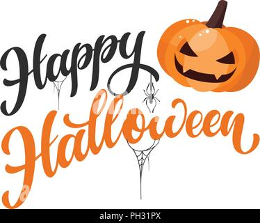 Happy Halloween part texte écrit. Création de contenu pour l'impression, affiche, invitation, t-shirt. Vector illustration Banque D'Images