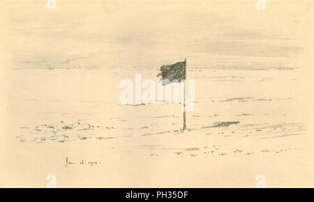 """'Camp du pavillon noir. - Drapeau noir d'Amundsen à quelques milles du Pôle Sud"""", 1912, (1913). Artiste: Edward Wilson. Banque D'Images"""
