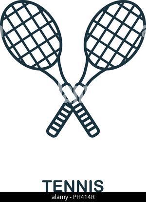 L'icône Contour Tennis. Élément simple illustration. Dans les grandes lignes l'icône Tennis style design de l'équipement sport collection. Peut être utilisé pour le web, mobile et Banque D'Images