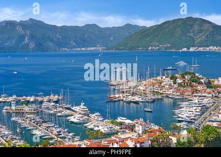 Vieille ville et du port de Marmaris, Turquie Banque D'Images