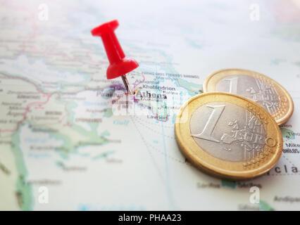 Grèce carte Euro Banque D'Images