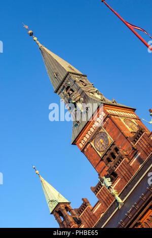 Façade de l'Hôtel de ville détail à Rådhuspladsen, la place de l'Hôtel de Ville, Copenhague, Danemark