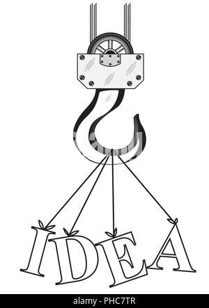 Crochet de grue de construction et l'idée de mots Banque D'Images