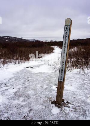 Sol en bois Post le sentier des Appalaches dans la région de Grayson Highlands, Virginie Banque D'Images
