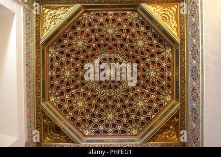 Palais Royal Alcazar - plafond en bois orné Banque D'Images